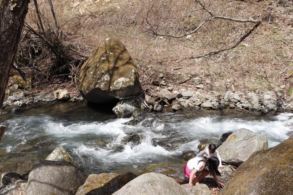【桐の木平キャンプ場】隣接する天然川で遊べるよ
