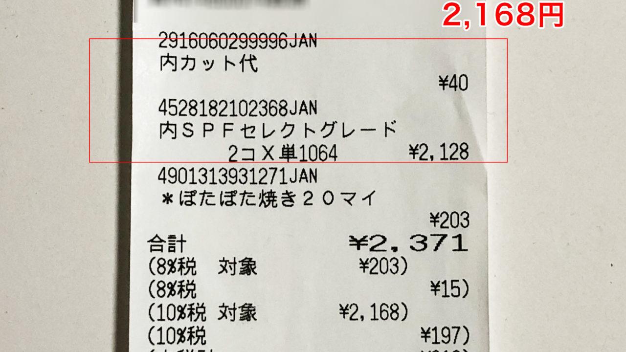 ワンバイフォー材の購入金額