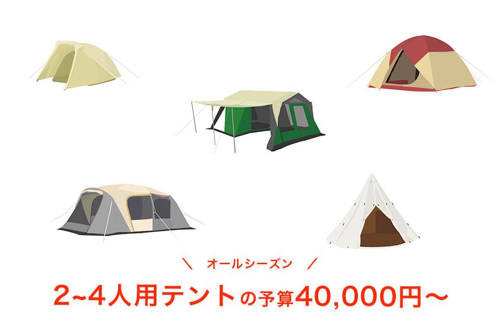 【オールシーズン】予算40,000円以上の2~4人用テント