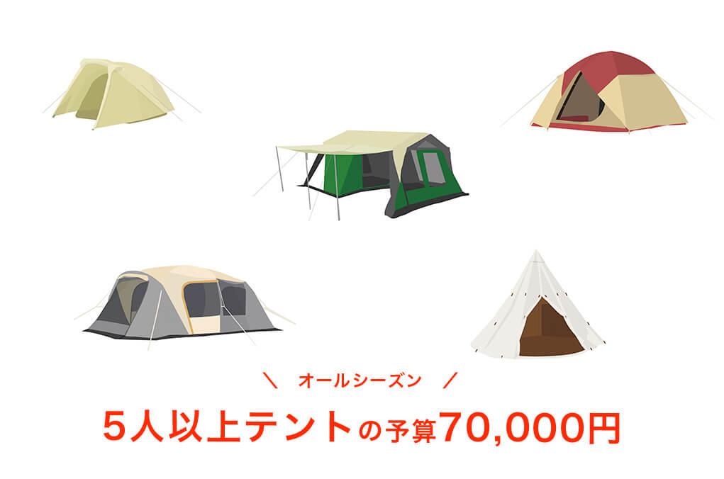 【オールシーズン】予算70,000円以内の5人用テント